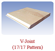 <h1>V-Joint (17/17 Pattern)</h1> 			A timeless design that is extremely popular for interior panelling on the ceiling and/or walls. Available in white pine as well as white cedar.<br /> 			        <table summary=&quot; &quot; class=&quot;datatable&quot;>         <caption></caption>         <tr>            <th scope=&quot;col&quot;>Board Size</th>           <th scope=&quot;col&quot;>Actual Coverage</th>           <th scope=&quot;col&quot;>Available Grades</th>         </tr> 		<tr>                     <td class=&quot;middle&quot;>1 X 6</td>           <td class=&quot;middle&quot;>5/8&quot; X 5 1/4&quot;</td>           <td class=&quot;middle&quot;>Premium, Cottage</td>         </tr><tr>                     <td class=&quot;middle&quot;>1 X 6</td>           <td class=&quot;middle&quot;>3/4&quot; X 5 1/4&quot;</td>           <td class=&quot;middle&quot;>Select, Premium, Cottage</td>         </tr>         <tr>                     <td class=&quot;middle&quot;>1 X 8</td>           <td class=&quot;middle&quot;>3/4&quot; X 7 1/4&quot;</td>           <td class=&quot;middle&quot;>Select, Premium, Cottage</td>         </tr> 		</table>