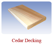 <h1>Cedar Decking</h1> 			Beautiful White Cedar is a naturally water resistant wood species, and a healthy and environmentally friendly alternative to pressure treated lumber. Gives a superior finish to any deck, dock, patio or gazebo.<br /> 			        <table summary=&quot; &quot; class=&quot;datatable&quot;>         <caption></caption>         <tr>            <th scope=&quot;col&quot;>Board Size</th>           <th scope=&quot;col&quot;>Actual Coverage</th>           <th scope=&quot;col&quot;>Available Grades</th>         </tr>         <tr>                     <td class=&quot;middle&quot;>5/4 X 6</td>           <td class=&quot;middle&quot;>1&quot; X 5 1/2&quot;</td>           <td class=&quot;middle&quot;>Premium, Cottage</td>         </tr></table>